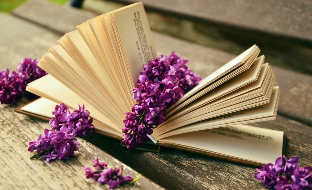 A book with flowers